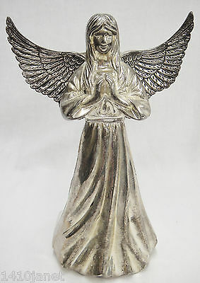 "International Silver Silverplate Figural Angel Candle Holder  7.5"" Tarnished"