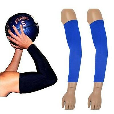1 Pair Arm Sleeves Sun Protection Basketball Gym Cycling Volleyball Stretch Blue