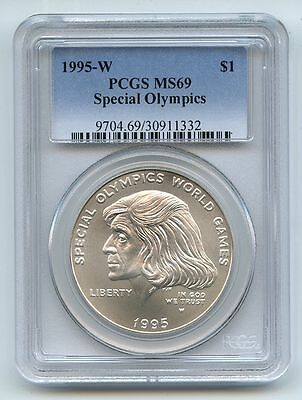 1995 W $1 Special Olympics Silver Commemorative Dollar PCGS MS69
