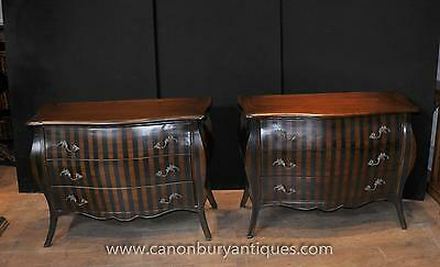 Pair French Napolean Bombe Commodes Chest Drawers