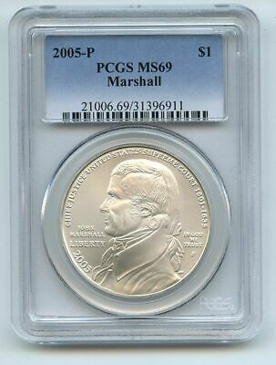 2005 P $1 Chief Justice Marshall Silver Commemorative Dollar PCGS MS69