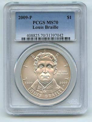2009 P $1 Louis Braille Silver Commemorative Dollar PCGS MS70