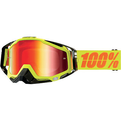 Gafas Moto 100% Racecraft Goggles Neon Yellow With Mirror Red Lens