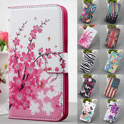 New Classic Flower Flip Leather PU Wallet Stand Case Cover For Smart Cell Phones