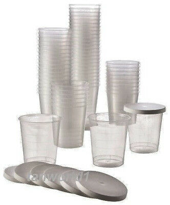 New 45 x Disposable Cups and Lids for Sunbed Salon Tanning Lotion Cream Samples