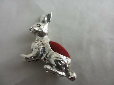 ANTIQUE ART DECO STYLE STERLING SILVER hare rabbit SEWING PIN CUSHION