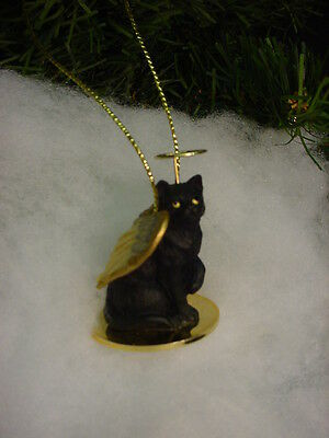 Pretty BLACK CAT ANGEL Ornament Figurine HAND PAINTED kitty CHRISTMAS kitten NEW
