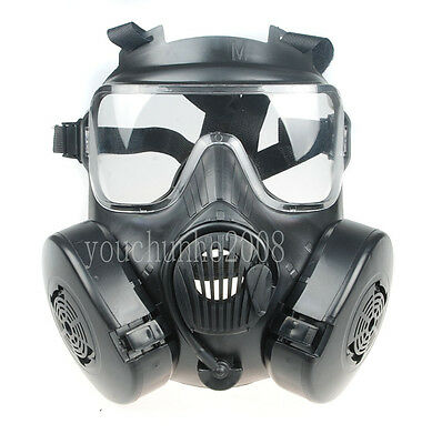 TACTICAL AIRSOFT PAINTBALL FULL FACE SKULL GAS MASK M50 BLACK-34154