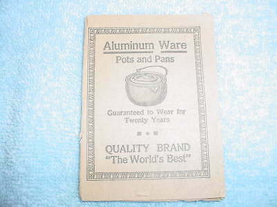 QUALITY BRAND ALUMINUM WARE BOOKLET - ANTIQUE -FREE SHIPPING