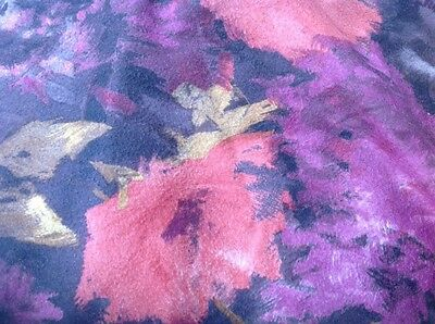 2 YARDS OF VINTAGE BRUSHED COTTON FLORAL PRINT FABRIC