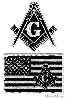 Lot Black Masonic Logo Flag Embroidered Patches Freemason Square Compass Mason