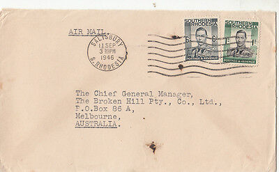 Stamps Southern Rhodesia 1/- & 6d KGV1 on 1946 cover to Broken Hill Co Australia