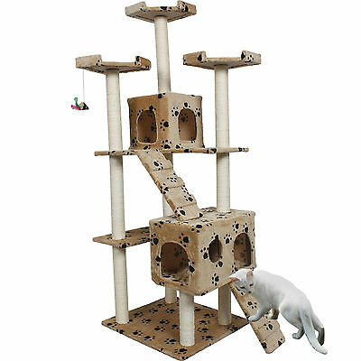 """73"""" Cat Tree Condo Furniture Scratch Post Pet House Beige Paws New"""