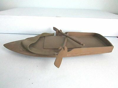 """Vintage Wood & Canvas Military Landing Beach Craft BOAT & Oars Toy OD Finish 12"""""""