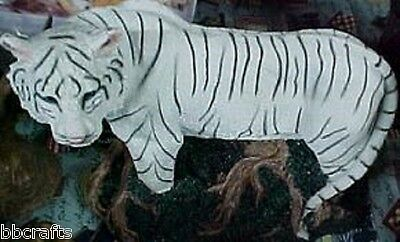 LARGE ALABASTER WHITE TIGER STATUE COLLECTIBLE - NEW IN BOX