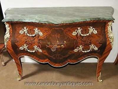 Pair French Louis XVI Commodes Bombe Form Chest Drawers
