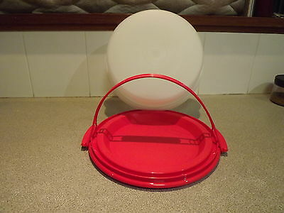 Tupperware Pie / pizza  taker New Red and Sheer with handle Limited Release