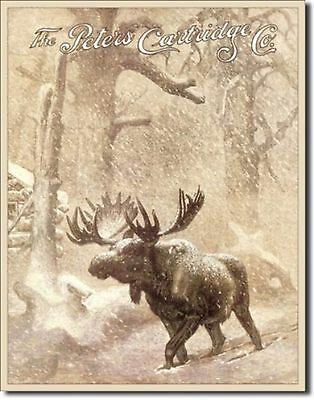 The Peters Cartridge Co. Moose Snow Metal Sign Tin New Vintage Style USA #1140
