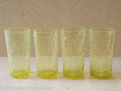 4 Vintage Yellow Crackle Glass Flat Tumblers