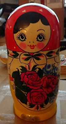 Huge traditional  Hand painted   RUSSIAN NESTING DOLL 10  PCS   HUGE 10 *inches
