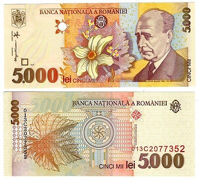 1998 Romania 5000 Lei Uncirculated Note