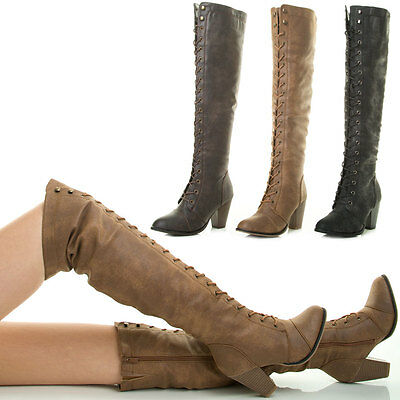 Details about  /New Womens Tassel Side Lace Up Chunky Med High Heel Over The Knee OTK Boots Shoe