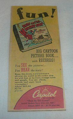 small 1948 newsprint ad ~ BOZO THE CLOWN AND THE ROCKET SHIP