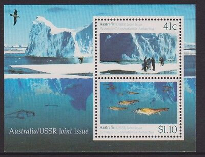 1990 AAT Antarctic Australia USSR Joint Issue MUH Mini Sheet