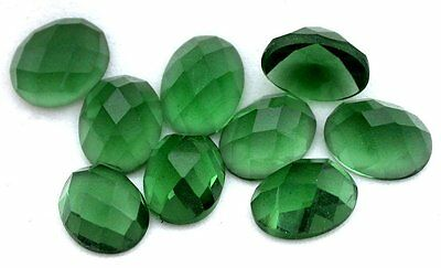 Four 9x7 Oval Faceted Flat Bottom Synthetic Green Quartz Cab Cabochon Gem Stone