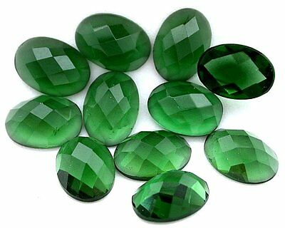 Two 14x10 Oval Faceted Flat Bottom Synthetic Green Quartz Cab Cabochon Gem Stone