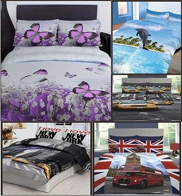 3D Design Duvet Set Quilt Cover Bedding Set with Pillowcases Single Double King