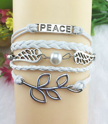 NEW Infinity Peace wings leaves Friendship Leather Charm Bracelet Silver Cute