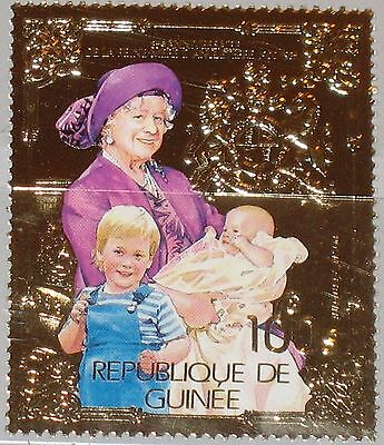 GUINEA 1985 1042 A 937A Royals Queen Mothers Elizabeth 85th Birthday GOLD Foil**