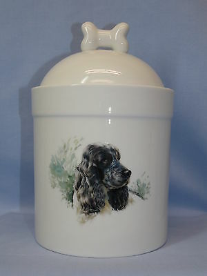Black Cocker Spaniel Dog Porcelain Treat Jar Fired Head Decal on Front 8 In Tall