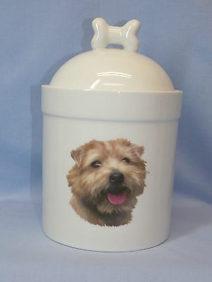 Norwich Terrier Dog Porcelain Treat Jar Fired Head Decal on Front 8 In Tall