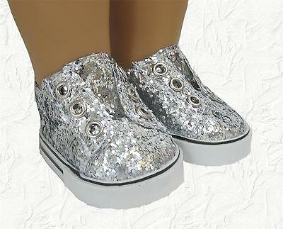 Doll Clothes Sneakers Sequin Slip on Silver fit 18 inch American Girl