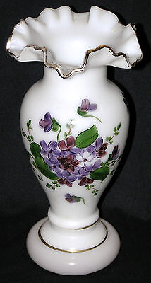Vtg 50's Consolidated Glass Ruffled Edge Gold Trim Violets Handed Paint Vase