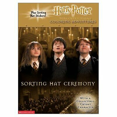 Rare HARRY POTTER SORTING HAT COLORING BOOK w/STICKERS & COLLECTIBLE CUTOUT! OOP