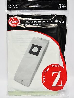 3 Pack Type Z Vacuum Cleaner Bags by Hoover 4010075Z
