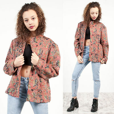 Womens Vintage 90's Pink Floral Tapestry Patterned Zip Up Blazer Jacket 18
