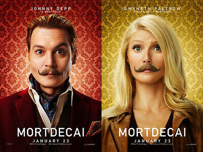 Mortdecai - original DS movie poster - 27x40 D/S Advance set of 2 - 2015 Depp