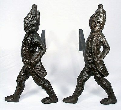 Antique American Revolution Fancy Hessian Soldier Old Andirons Fire Place Dogs