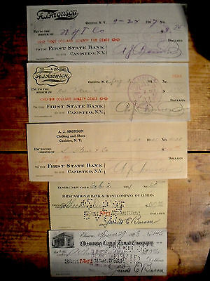 10 different U.S. bank checks all pre-1960 nice used condition