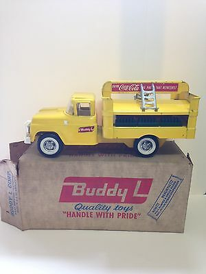 Vintage Yellow Buddy L COCA COLA Delivery Truck Metal Toy with Original Box MINT