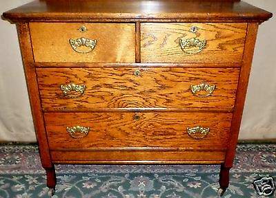 ANTIQUE Rustic Oak Two Over Two Drawer Dresser Arts and Crafts/ Mission Style