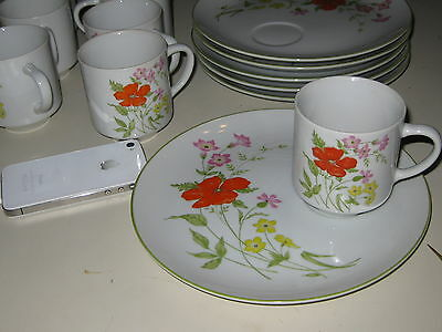 Desert Plates And Cups Floral Pattern Made In Japan