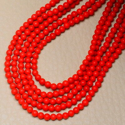 3MM RED SEA CORAL (LAB.)ROUND BEADS STRAND 15 1/2""