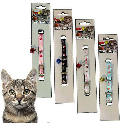 Cat Collar Adjustable Pet Kitten Nylon Bell Elasticated Tough Durable Rabbit