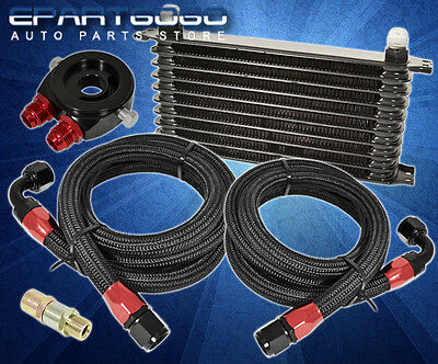 9-Row Aluminum Oil Cooler +Filter Relocation Plate +Stainless Steel Lines Black