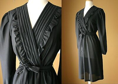 VTG 70s 80s Secretary Dress M L Ruffle Wrap style PINUP SHEER Cocktail PARTY LBD